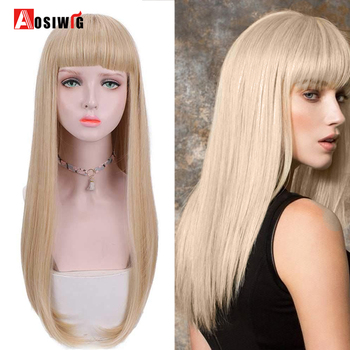 AOSI Blonde Long Straight Wig With Bangs Synthetic Wigs Bang With Wigs For Women Black Brown Heat Resistant Cosplay Lolita Wig elegant blonde side bang capless long big wave heat resistant synthetic wig for women