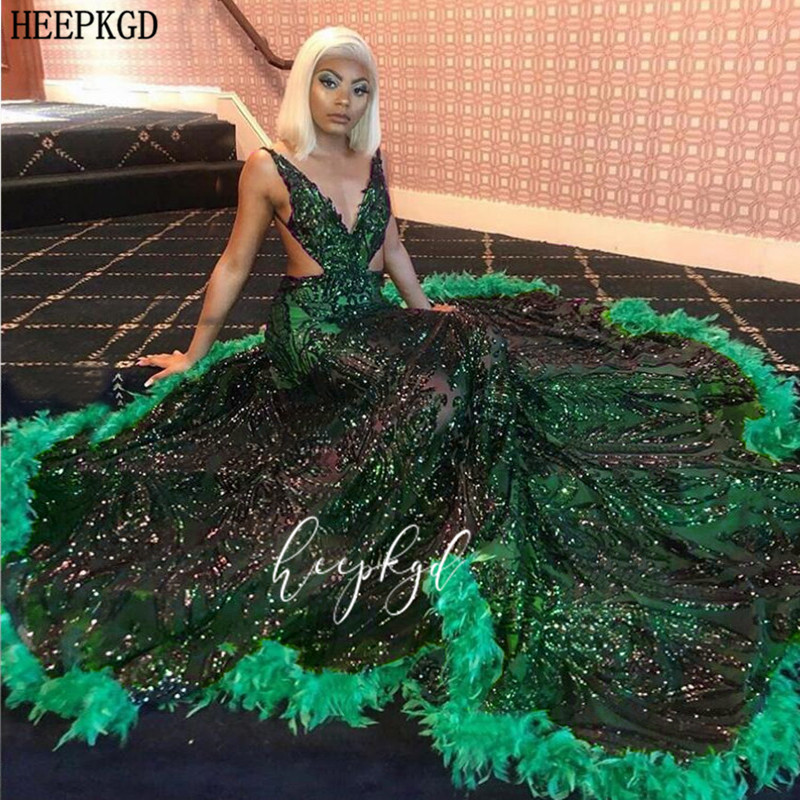 Sexy Green Sequins Mermaid Prom Dresses Backless Feathers Black Girls Graduation Homecoming Dress Plus Size Wedding Party Gowns