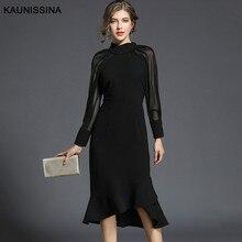 KAUNISSINA, элегантное черное коктейльное платье, вечерние платья с длинным рукавом, длиной до колен, платье для выпускного вечера, коктейльное платье, платья для выпускного вечера