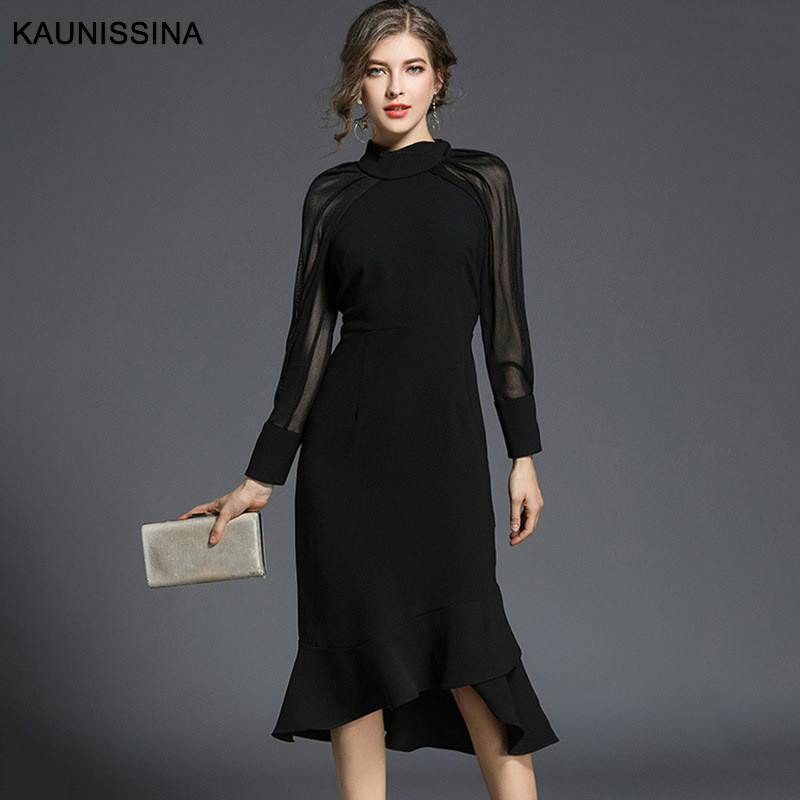 KAUNISSINA Elegant Black   Cocktail     Dress   Party Gowns Long Sleeves Knee-Length Prom Mermaid   Cocktail   Robe Homecoming   Dresses