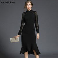 KAUNISSINA Elegant Black Cocktail Dress Party Gowns Long Sleeves Knee Length Prom Mermaid Cocktail Robe Homecoming Dresses