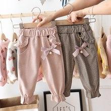 Осенние детские штаны для маленьких девочек повседневные штаны в горошек с бантом и оборками одежда для маленьких детей длинные штаны принцессы S9692
