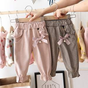 2020 Autumn Baby Girls Kids Pants Dot Polka Bow Ruffles Casual Trousers Infants Children Clothes Wear Princess Long Pant S9692