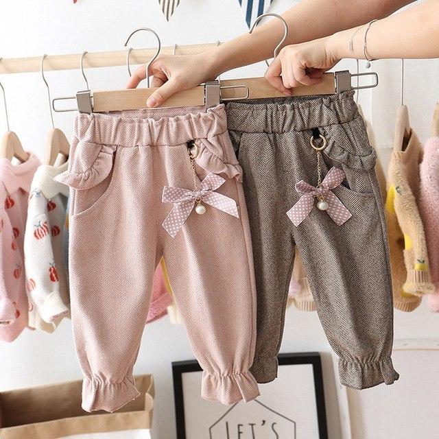 2020 الخريف طفل الفتيات الاطفال السراويل دوت البولكا القوس الكشكشة بناطيل كاجوال الرضع ملابس الأطفال ارتداء الأميرة طويلة بانت S9692