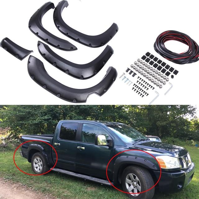 4x de plástico del coche de cuerpo de rueda ceja bengalas Fender Flexible Durable guardabarros encaja 04 14 Nissan Titan con caja de seguridad sólo