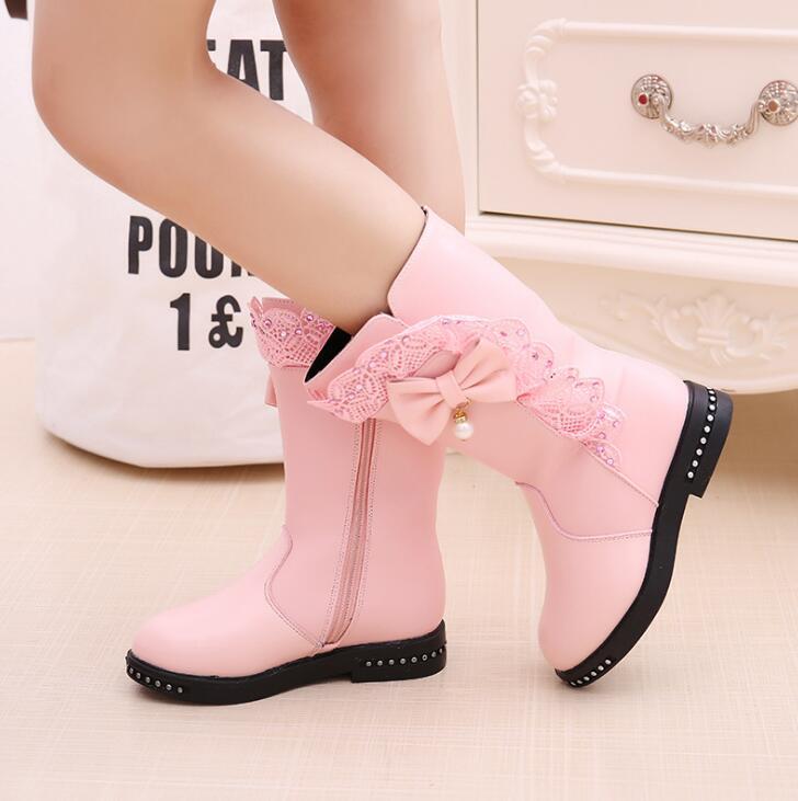 Winter New Black Kids Boots Girls Boots Children High Bow Tie Shoes Girls Pincess Dress Boots Big Kids Shoes Size 27-37