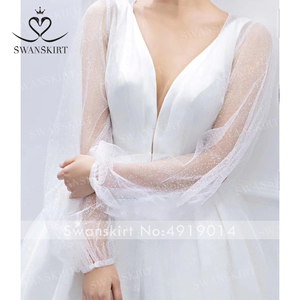 Image 5 - Fashion V neck Satin Wedding Dress 2020 Detachable 2 In 1 A Line Princess Swanskirt I216 Bridal Court Train Vestido de Noiva