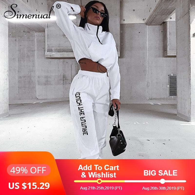 simenual-letter-print-casual-workout-two-piece-set-women-fashion-zipper-long-sleeve-outfits-sporty-active-wear-top-and-pants-set