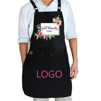 2019 New Fashion gotowanie kuchnia fartuchy dla kobiet man regulowane z kieszeniami kawiarnia fartuch roboczy bib smocs własne logo