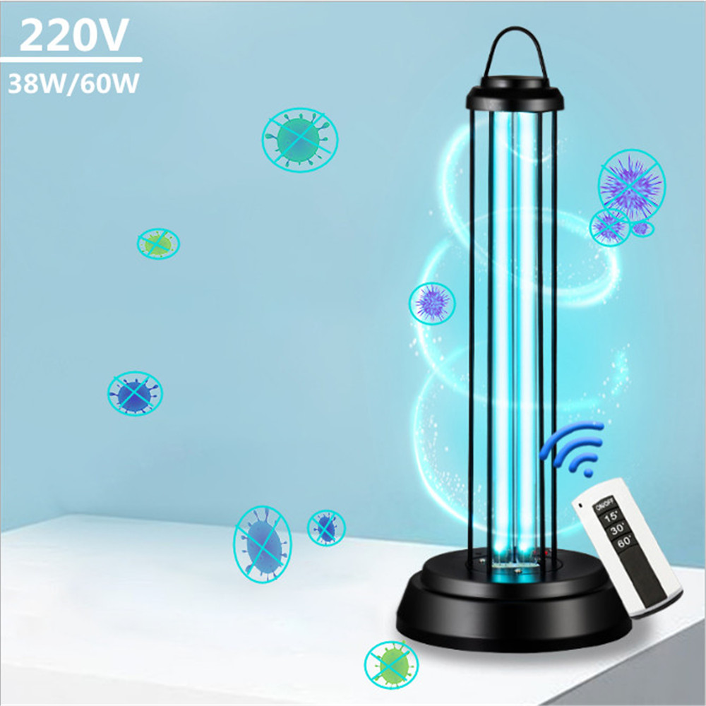 Portable 360° 38W/60W UV Disinfection Lamp Kill Dust Mite Eliminator UV Quartz Dual Tubes For Bedroom/Parlor/Kitchen With Remote