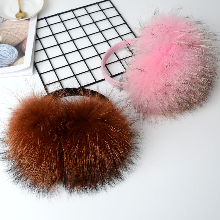 Winter Raccoon Fur Earmuff 2019 New Fashion Natural Color Real Fur Earmuffs Women Warm Ear Muffs Unisex Headband