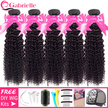 Gabrielle Brazilian Kinky Curly Bundles 5/10 pcs Wholesale Human Hair Extensions Double Wefts 30 32 inch Remy Hair Weave