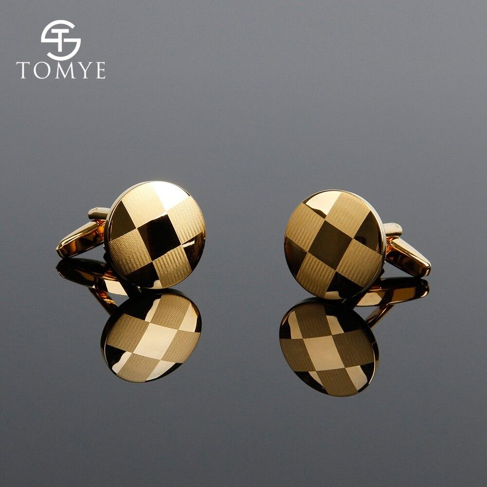 Cufflinks TOMYE XK18S392 Gold Color Round Lattice Jewelry Fashion Shirt Cuff Links For Men