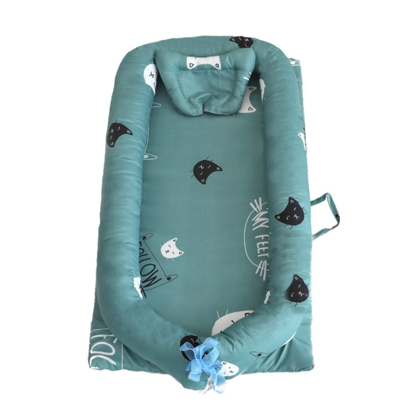 Portable Removable And Washable Cotton Baby Nest Bed With Crib Netting Infant Mosquito Net Baby Sleep Pad For Newborn