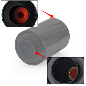 """Image 4 - Sistema universal de admissão de ar frio para carro de 3 """"com caixa de filtro do kit de filtro de admissão de ar por indução de alimentação fria de fibra de carbono de corrida"""