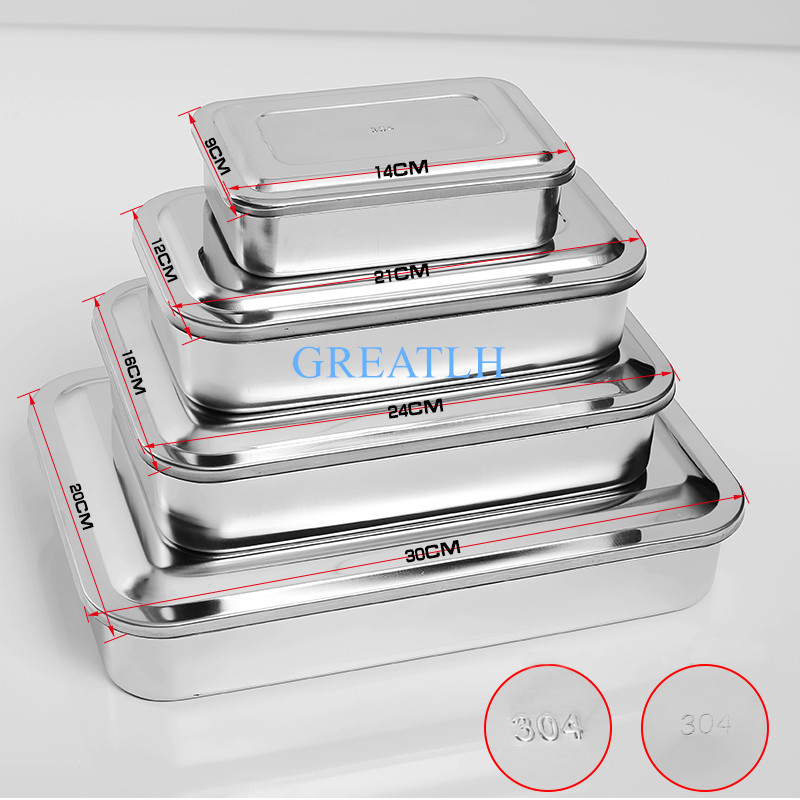 304 Thick Medical Stainless Steel  Sterilization Tray Box  Square Plate Without Hole Cover  Surgical Instruments