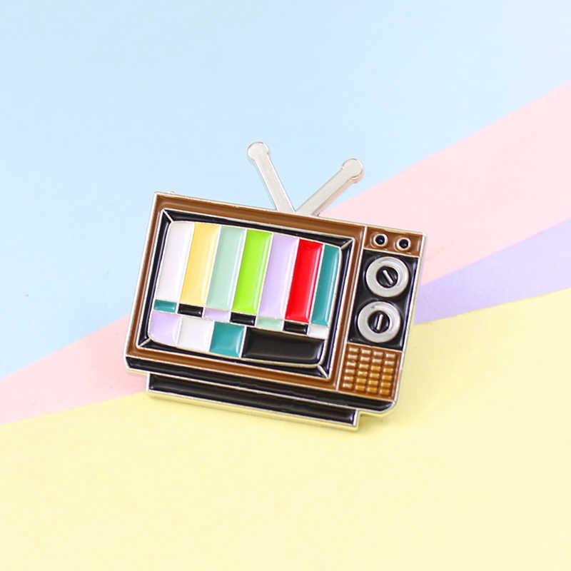 Retro เสาอากาศทีวี Pins สี Snowflake หน้าจอไม่มี Sign สัญญาณภาพเสาอากาศโทรทัศน์เครื่องประดับของขวัญเข็มกลัดสำหรับเพื่อน