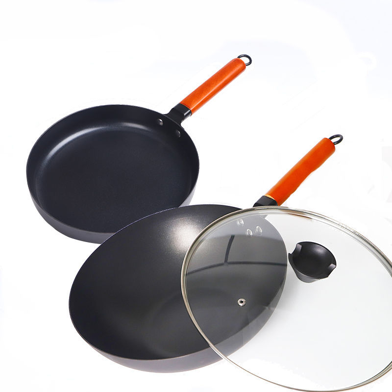 Wok Non-stick Pot 20/26CM Frying Pan Non-stick Pan Smokeless Pot Cast Iron Skillet Frying Pan Induction Pan Cookware Kitchen Pot