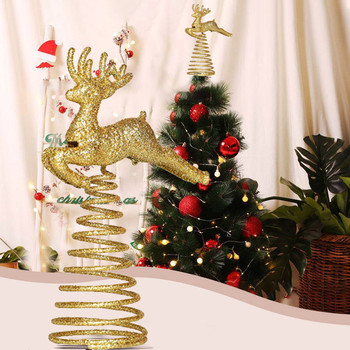 Spring Running Deer Christmas Tree Top Ornament Topper Xmas Party Decoration Christmas Supplies Ornaments Boze Narodzenie image