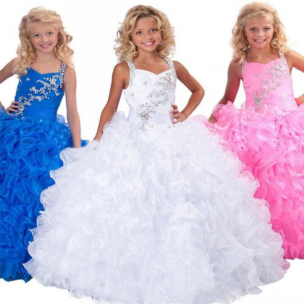2015 mode robe de bal Flowergirls Fanny rose robe bouffante pour enfants beauté Pageant robes robes de bal pour filles fleur fille robe
