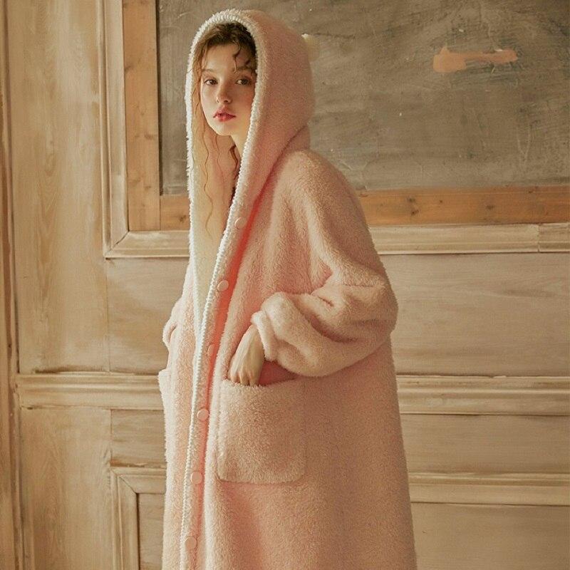 Vintage Thicken Warm Women's Pink Hooded Robes Long Sleeve Elegant Female Princess Loose Sleepwear Plus Long Bathrobe