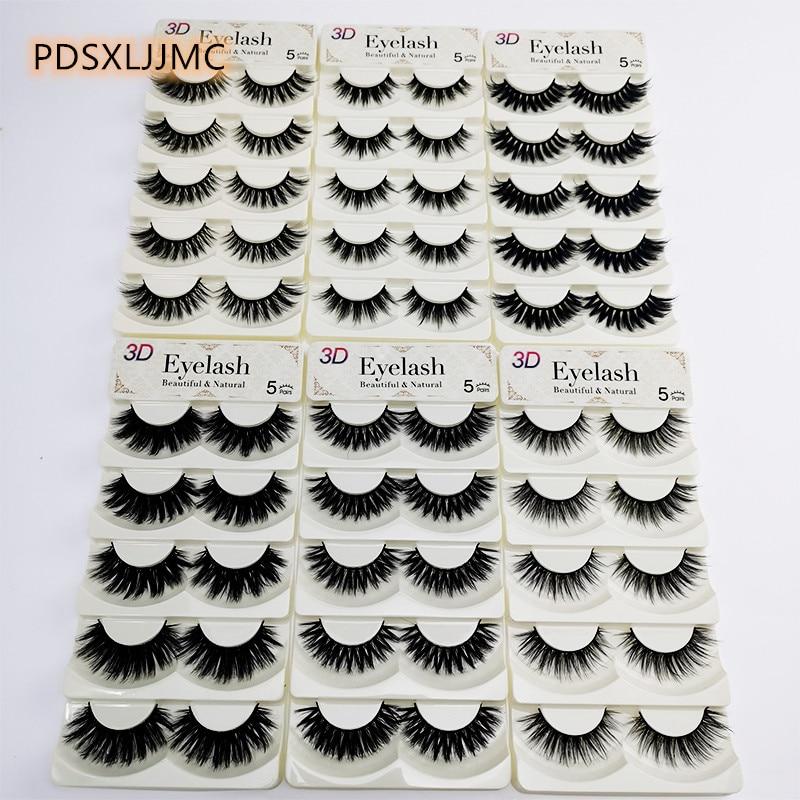 PDSXLJJMC 5pairs 3D Mink Eyelashes Natural Long Thicking Eyelashes Extension Handmade Reusable False Eyelashes Set  Package Box