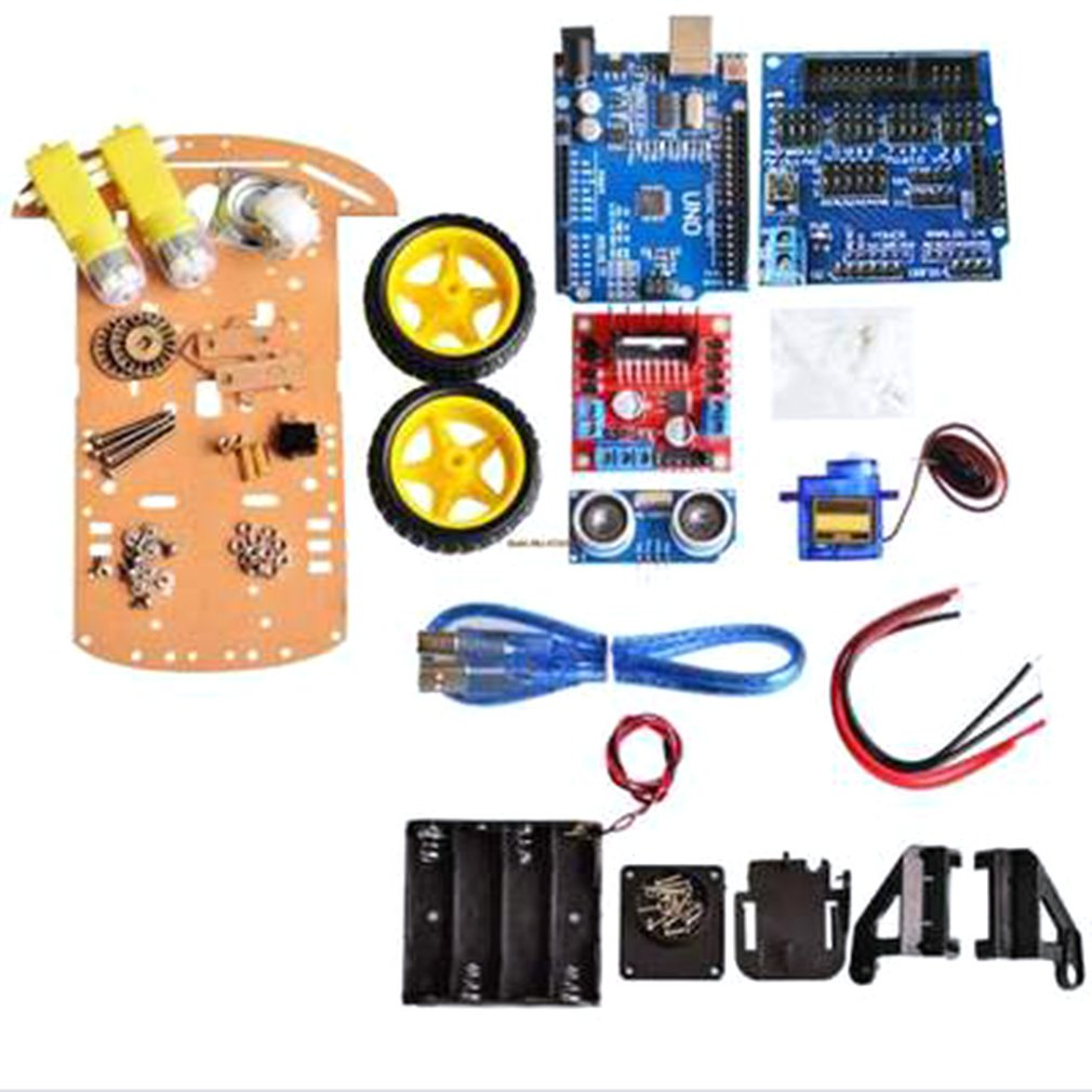 Tool Kit UNO R3+ Car Chassis Kit + Ultrasonic Module Compatible With Arduino Uno R3 Chassis Kit Tool Set