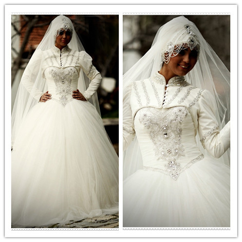 2018 Vestido De Noiva Arrival Modern Saudi Arabia Muslim High Neck Beading Long Sleeves Bridal Gown Mother Of The Bride Dresses
