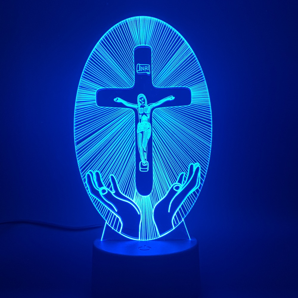 Christianity LED Night Light Jesus Station Of Religion Cross Visualization Crucifix Bible Colorful Christians 3D Lamp Dropship
