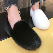 2020 Winter Women Shallow Flats Slip On Pink Mink Fur Espadrilles Warm Loafers White Furry Driving Shoes Autumn Black Moccasins