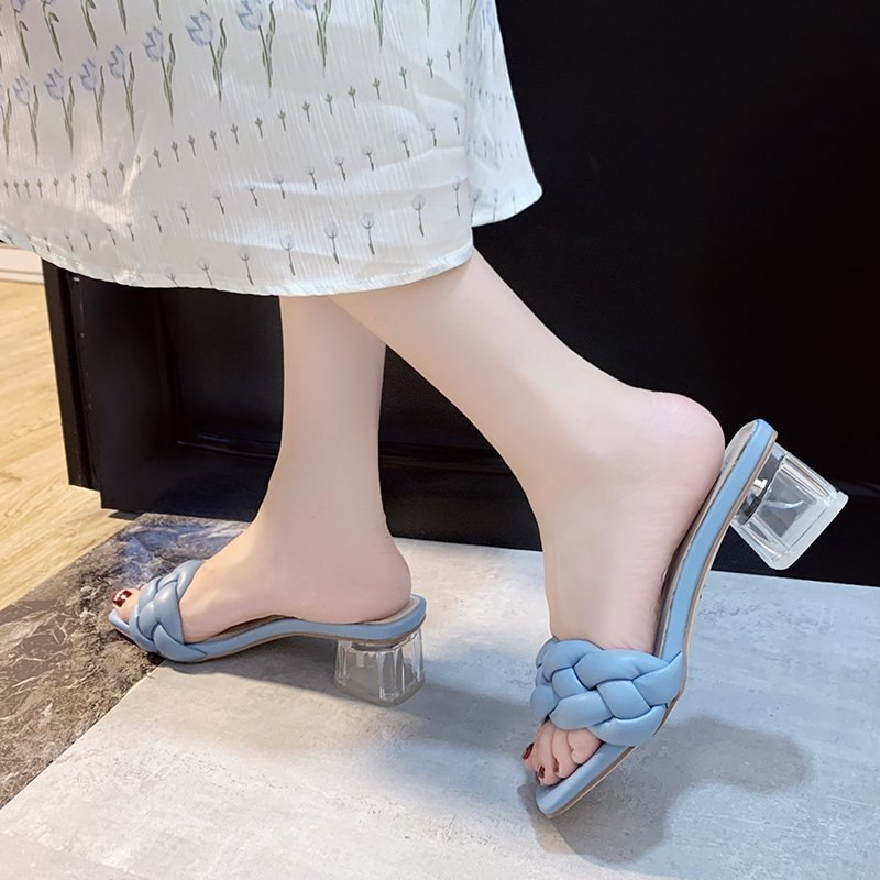 Transparent High Heels Sexy Ladies Woman Slippers New Summer Shoes Square Heel Weave Square Toe Slippers Ladies Leather Shoes 3