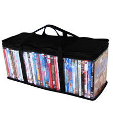 DVD CD Holder Video Dustproof Organizer Protective Zipper Clear Storage Bag Carrying With Handle Portable Large Oxford Cloth