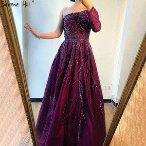 Image 4 - Dubai Thiết Kế Rượu Vang Đỏ Chữ A Váy Đầm Dạ Một Vai Gợi Cảm Cao Cấp Form Đầm Suông 2020 Thanh Thoát Đồi LA60988