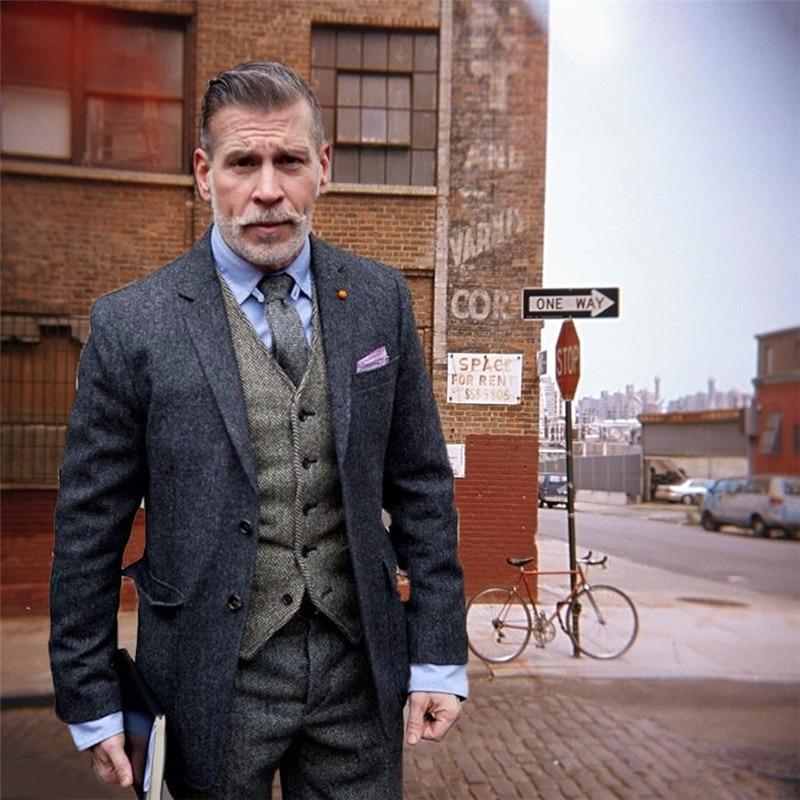 Grey Tweed Men Suit Winter Classic Suit Men Elegant Formal Wedding Suits For Men Retro Costume Homme 3 Pieces Traje Hombre Suits