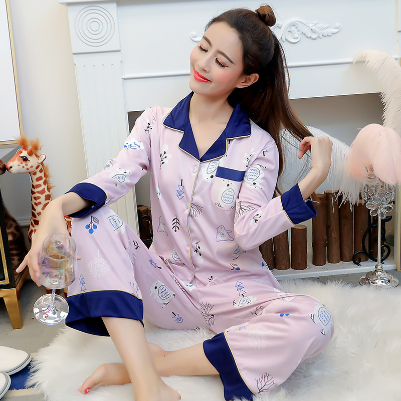 Liang Xing-Autumn & Winter New Style Open Buckle Color Block Set Pajamas Color Block White Bear M -Xxl