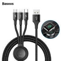 Baseus pour Apple Watch iWatch 4 3 2 Qi chargeur sans fil 4 en 1 câble USB pour iPhone USB type C câble Micro USB pour téléphone portable