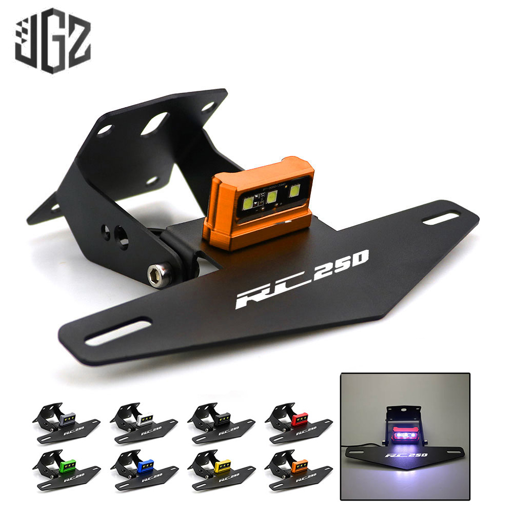 Motorcycle Adjustable Rear License Plate Holder Plate Bracket With LED Light for KTM RC <font><b>250</b></font> <font><b>2013</b></font> 2014 2015 2016 2017 2019 2020 image
