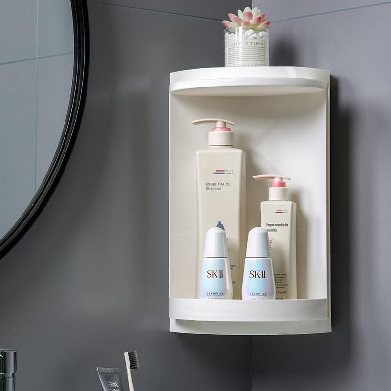 Bathroom Organization Multifunction 360 Degree Rotating Toilet Organizer Free Punching Wall Mounted Kitchen Shower Shelf Rack