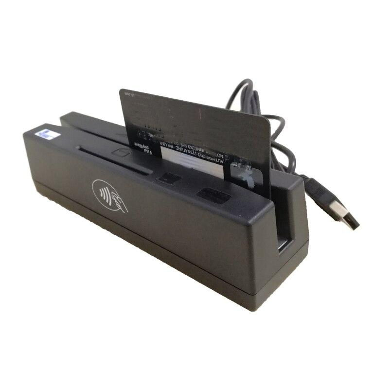 YL160 4-en-1 lecteur de cartes multiples lecteurs de cartes de crédit à bande magnétique EMV IC puce RFID PSAM lecteur écrivain accessoires de cartes mémoire - 4