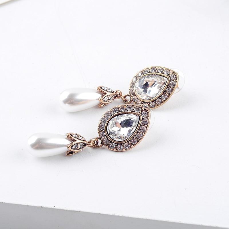 European Style Fashion Rerto Set Crystal Simulated Pearl Women Dangle Earrings Factory Wholesale