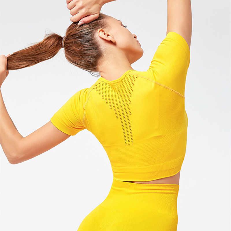 2 قطعة مجموعة اليوغا ملابس رياضية اللياقة البدنية طماق النساء الصالة الرياضية مجموعة الملابس الرياضية سلس اليوغا المحاصيل بلوزة الرياضة اللباس الداخلي