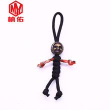 1PC EDC Hand-woven Paracord Beads Ghost Face Doll Retro Brass Copper Oxide Umbrella Rope Cord Lanyard Pendants Knife Beads(China)