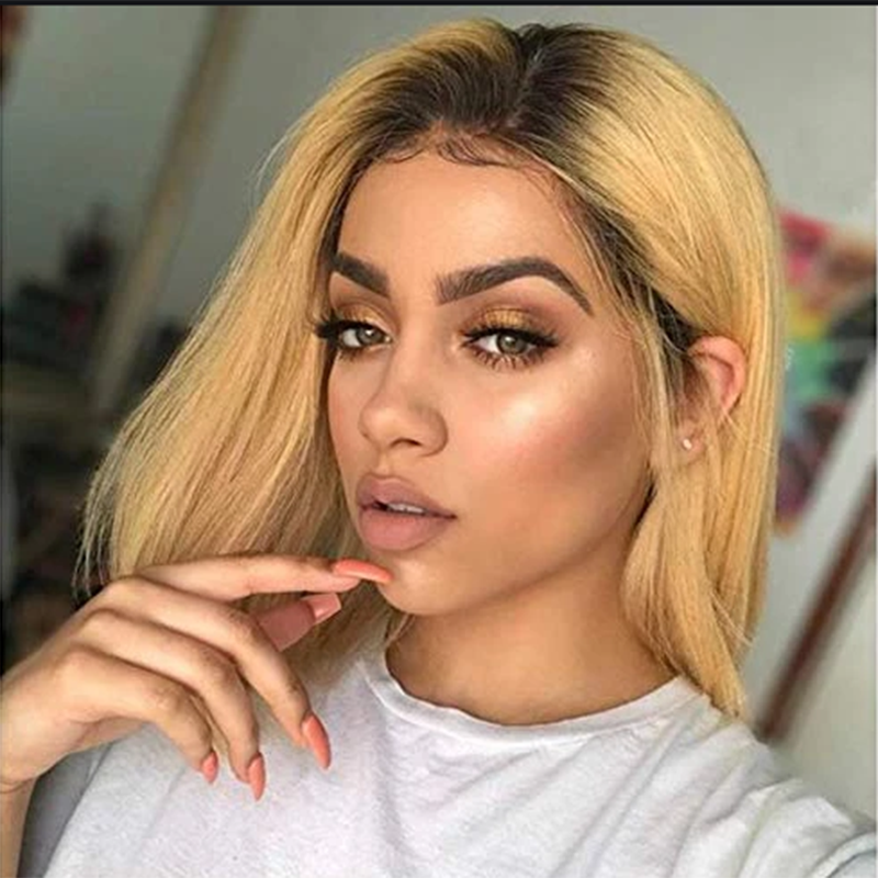 13x4 Lace Front Human Hair Wigs Brazilian Straight Short Bob Lace Wigs For Women Pre Plucked Remy Hair Wigs 150% Density SOKU