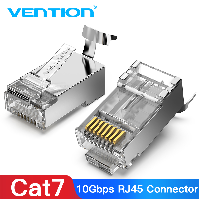 Vention Cat7 RJ45 Connector Cat7/6/5e STP 8P8C Modular Ethernet Cable Head Plug Gold-plated For Network RJ 45 Crimper Connectors