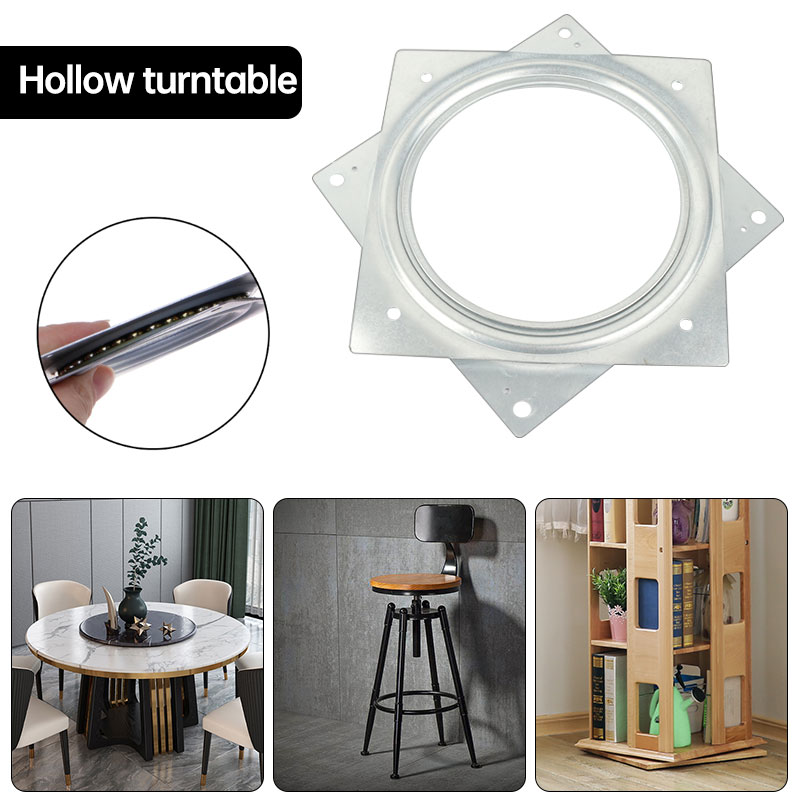 Square Rotating Swivel Plate Replacement Metal Lazy Susan Bearing Turntable TV Rack Desk Seat Swivel Plate Bar Tool