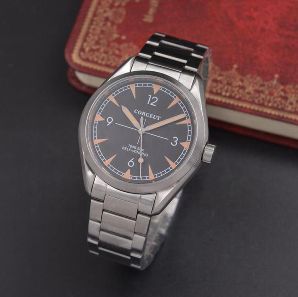Corgeut 41mm Watch Men Luxury Automatic Self Wind Watch Military Stainless Steel Luminous Waterproof Mechanical Male Wristwatch Mechanical Watches     - title=