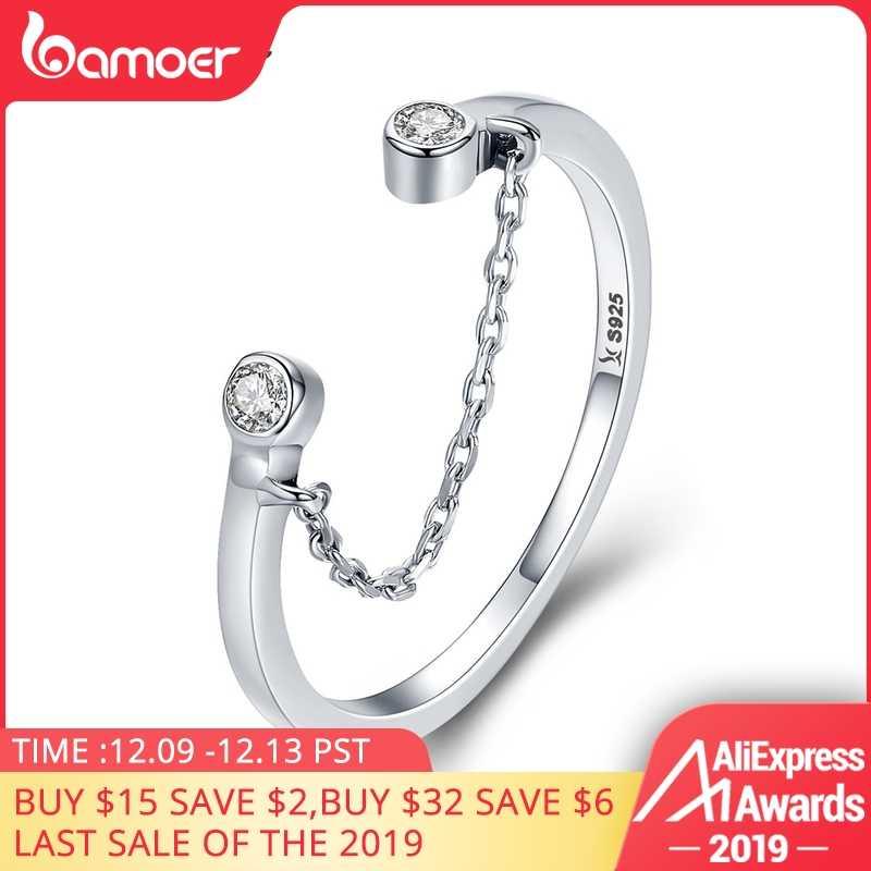 BAMOER แท้ 100% 925 เงินสเตอร์ลิงพู่ปรับล้างแหวน CZ ผู้หญิงแหวนเงินสเตอร์ลิงแหวนเครื่องประดับ SCR216