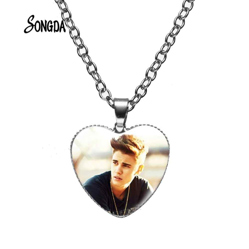 ¡Oferta! Collar de cadena de Justin Bieber famoso, Collar chapado en plata, joyería de corazón a la moda, regalo genial hecho a mano para hombres