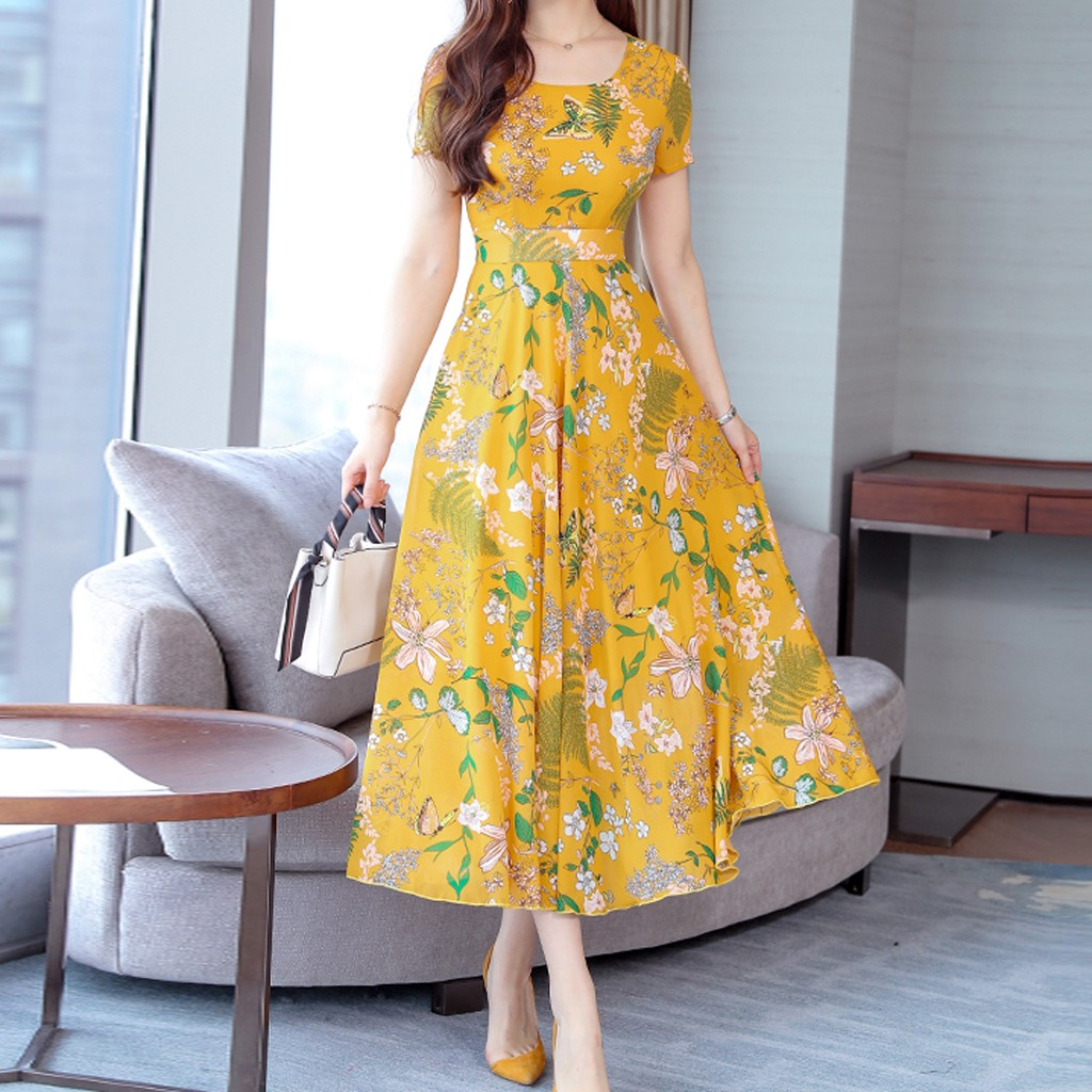 Women Fashion Plus Size Summer Mid Calf Short Sleeve Beach Printing Dress slip dress woman dress