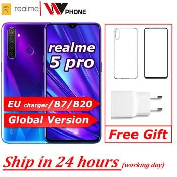 Перейти на Алиэкспресс и купить realme 5 Pro глобальной версии VOOC 20W Fast Charger 6,3-дюймовая мобильный телефон Snapdragon 712 АЕИ окт Ядра 48MP Quad камера Cellphone